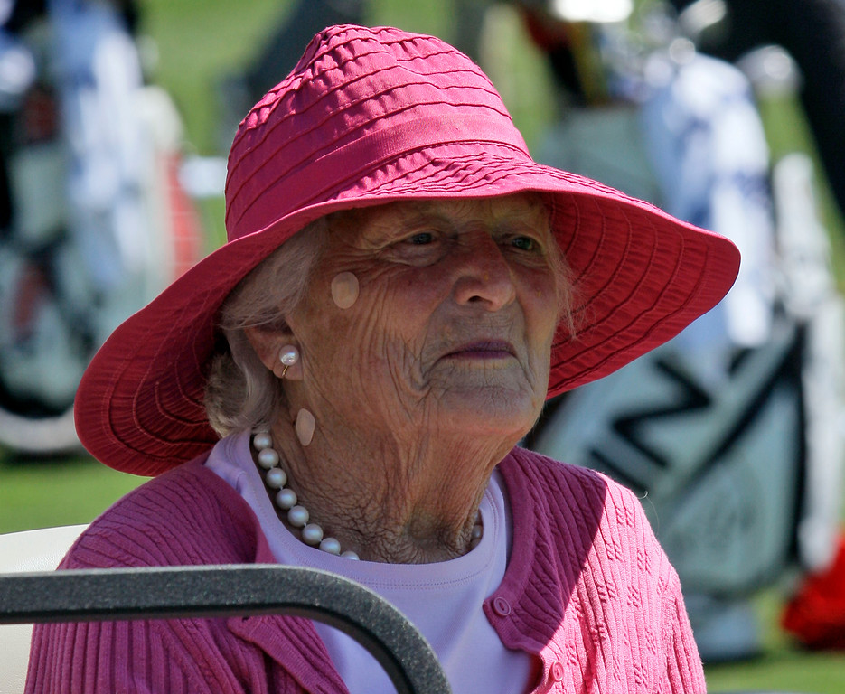 . Former first lady Barbara Bush during a visit to the Houston Open golf tournament Friday, April 3, 2009 in Humble, Texas. (AP Photo/David J. Phillip)