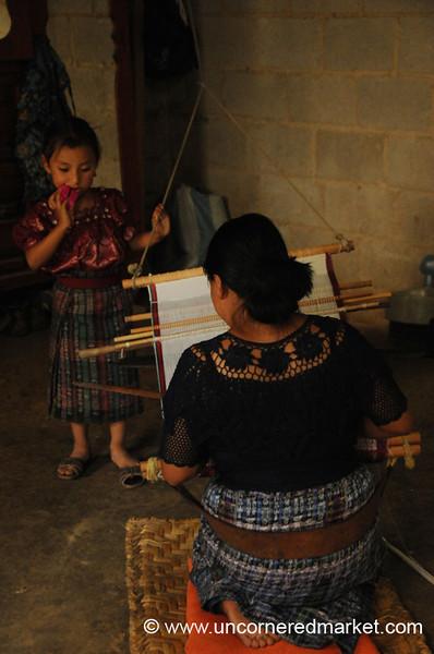 Mother and Daughter, Backstrap Weaving - San Pedro Sacatepequez, Guatemala