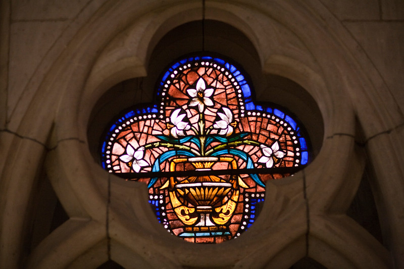 Stained glass window, Gothic Cathedral, town of Leon, autonomous community of Castilla y Leon, northern Spain