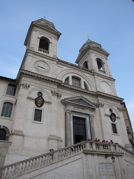 The church of the Santissima Trinità dei Monti facade in Rome, Italy