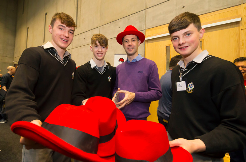 "09/11/2017. Crystal Valley Tech Showcase at WIT Arena. Pictured is James Mernin of Red Hat with David Delahunty, Luke Morrissey and James Casey from St Kieran's College, Kilkenny. Picture: Patrick Browne  Event demonstrates Tech and ICT is thriving in Kilkenny and the South East 50 companies and 2,000 students, industry and recruiters attend the inaugural Crystal Valley Tech Showcase event  Over 50 companies who are working together as Crystal Valley Tech showcased their rapidly growing industry in the WIT Arena on Thursday morning to approx. 2,000 members of the public, college and second level students, recruiters, government agencies and other industry.  The future is bright for ICT in the South East according to Dr Padraig Kirwan, Head of the Department of Computing & Mathematics at Waterford Institute of Technology. ""Computing is thriving in the South East judging by the number and diversity of ICT companies here today. Even more encouraging is the number of second level students who attended from Waterford, Kilkenny, Carlow, Tipperary and Wexford and how interested they are about the career opportunities in this exciting industry.""  Kilkenny schools attending the event included St Kieran's College,  VTOS Kilkenny and Presentation Secondary School in Loughboy.  Elaine Fennelly, Bluefin Payment Systems General Manager and co-founder of Crystal Valley Tech is very excited about the industry in the South East and today's showcase event. ""People who work in the industry already know that Tech is well established in the South East and the number of opportunities and companies continues to grow and grow. According to a recent Tech Ireland report there are over 60 indigenous and multinational companies employing well over 1,500 people from their bases in Waterford, Wexford, Kilkenny and Carlow.  ""However, we weren't so sure that people in the region realised just how big the ICT industry is becoming and to ensure the industry's future growth in the Sou"