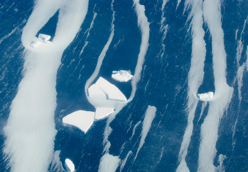 Icebergs and milky sea ice in the Belligshausen Sea