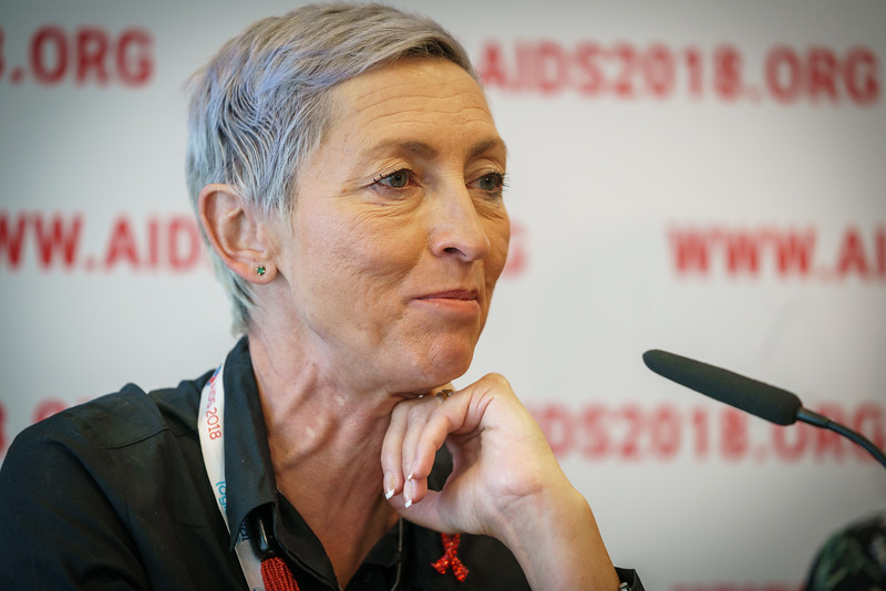 22nd International AIDS Conference (AIDS 2018) Amsterdam, Netherlands.   Copyright: Matthijs Immink/IAS  PRESS CONFERENCE Sex Workers & End Demand Policies  On the photo: Linda-Gail Bekker