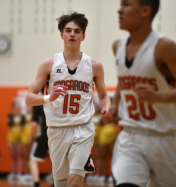 2/14/2020 Mike Orazzi   Staff Terryville High School's Dylan Matulis (15) during Friday evening's boys basketball game with Thomaston in Terryville.   Dylan Matulis