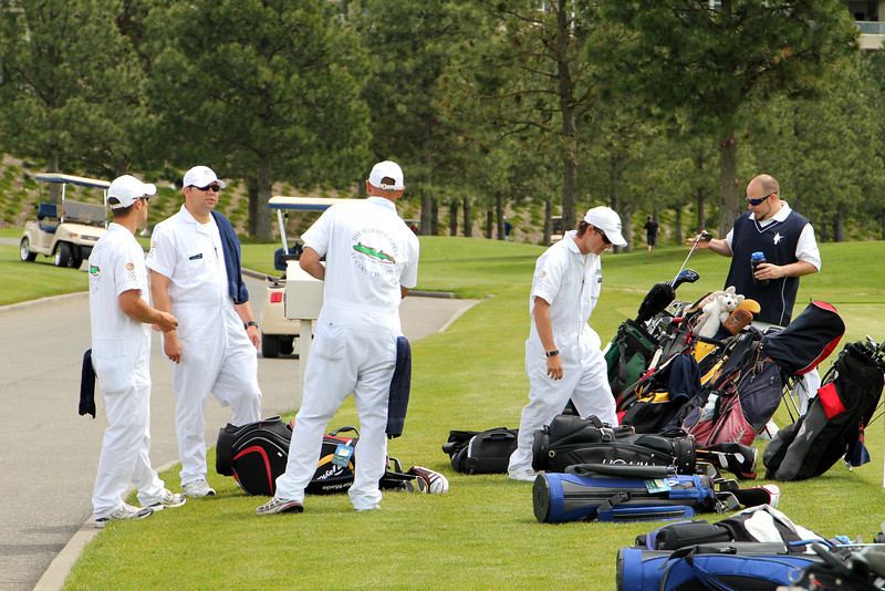 The Couer d'Alene Resort, Couer d'Alene, ID - Caddies getting ready for tournament
