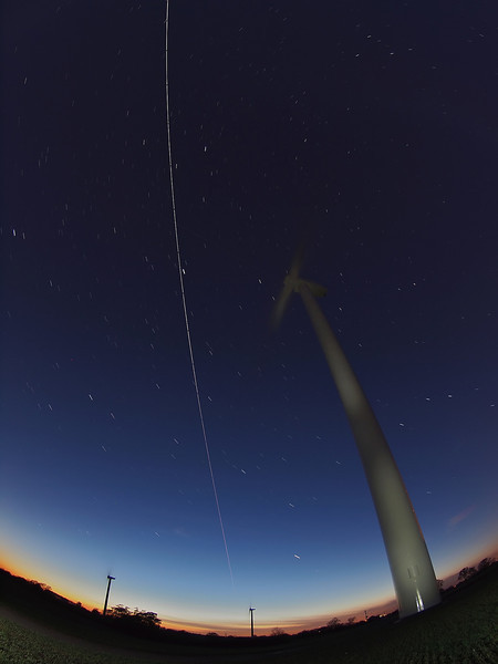 Oct 028 2011 ISS pass from 1845hrs flyby. ISS captured flying over the Low Spinney wind farm in Gilmorton, Lutterworth, Leics. A coming together of technologies one space, one renewable energy.  30 no 8s exposures captured with Olympus E5 & 8mm fisheye.