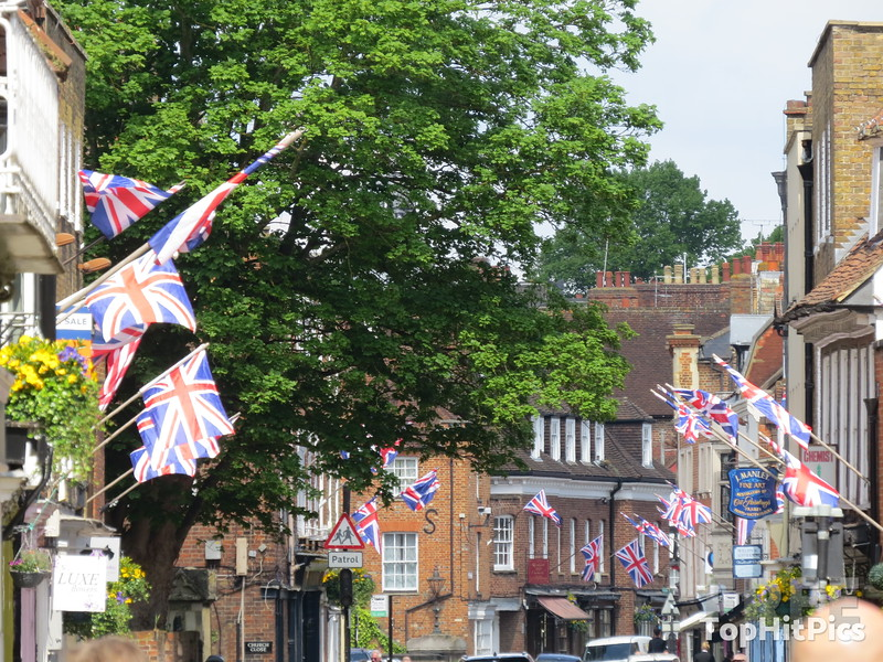 A Street Lined With British Flags in Windsor, Berkshire, England