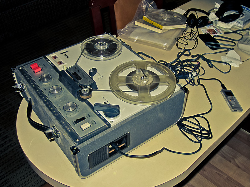 Circa 1960 reel-to-reel audio player and recorder, the Sony TC-200.  Tim used it to record Paul & Faith's Wedding Recording to digital format (modern recorder on far right).