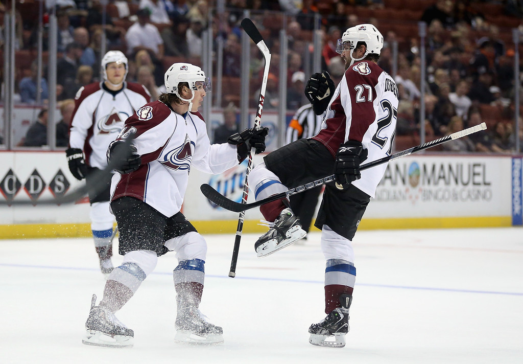 . Mitchell Heard (L) #48 and Guillaume Desbiens #27 of the Colorado Avalanche celebrate Desbiens\' second period goal against the Anaheim Ducks at Honda Center on September 22, 2013 in Anaheim, California.  (Photo by Jeff Gross/Getty Images)