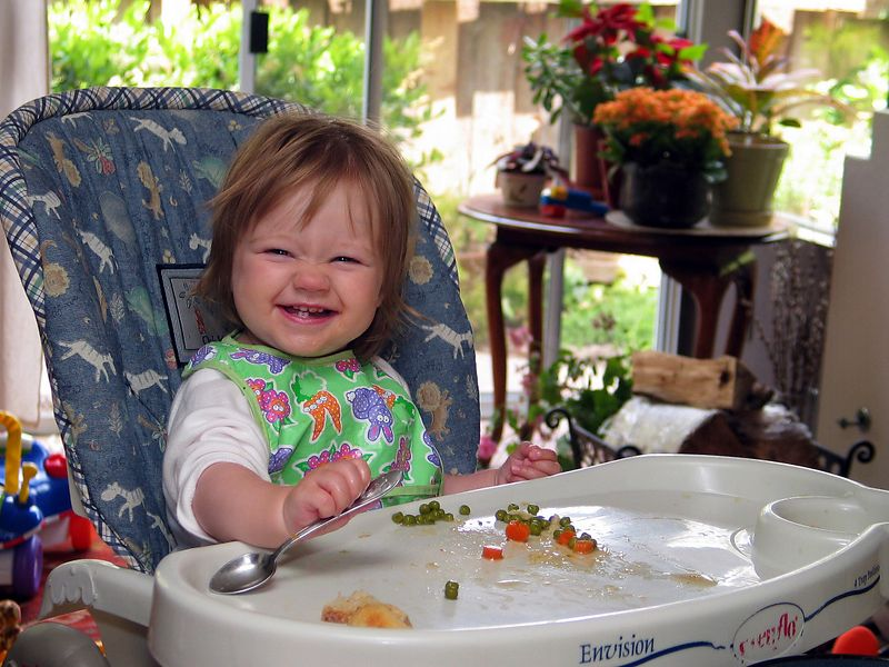 5/16 - This is how Lili eats her pea soup!