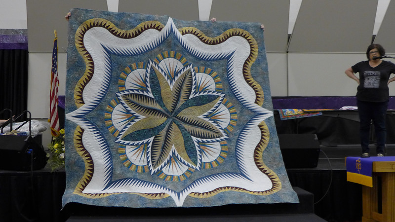 Fire Island Hosta is the name of the quilt.  Pattern by Judy Niemeyer and pieced and quilted by Kathy Kittle