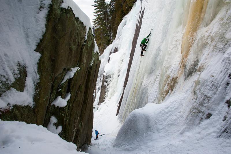 Patrick Prenovost Ice climbing La Vache noir, near Mont Tremblant, Quebec, Canada.
