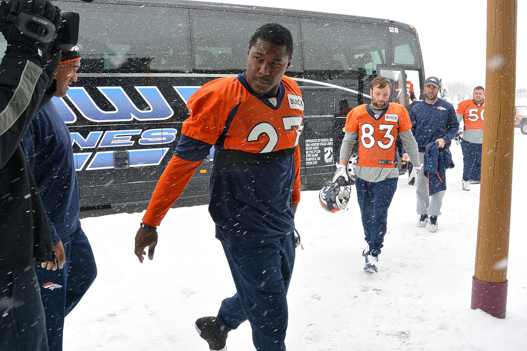 . ENGLEWOOD, CO - DECEMBER 4: Denver Broncos running back Knowshon Moreno (27) heads to the bubble for practice November 4, 2013 at Dove Valley (Photo by John Leyba/The Denver Post)