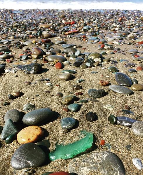 Sea Foam Sea Glass Piece Found on a Rocky Beach