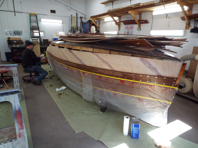 Front view of the third plank starboard side installed.