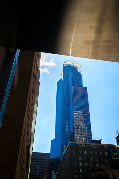 Low angle view of the Capella Tower at Downtown Minneapolis, Hennepin County, Minnesota, USA