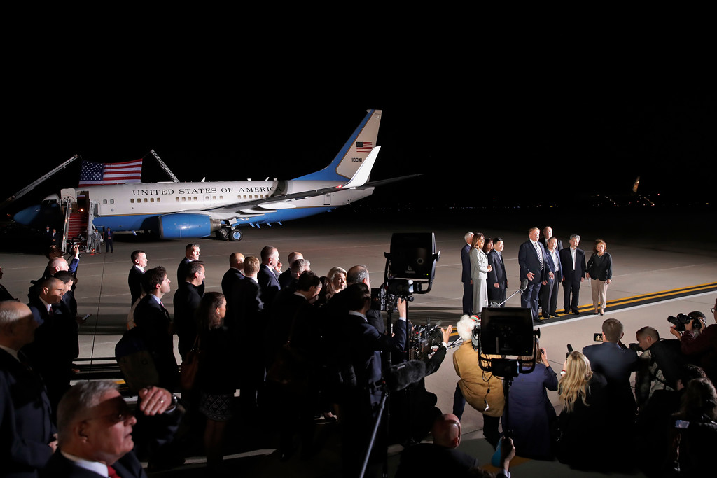 . President Donald Trump speaks with the media after greeting former North Korean detainees Kim Dong Chul, Tony Kim and Kim Hak Song upon their arrival, Thursday, May 10, 2018, at Andrews Air Force Base, Md. (AP Photo/Alex Brandon)