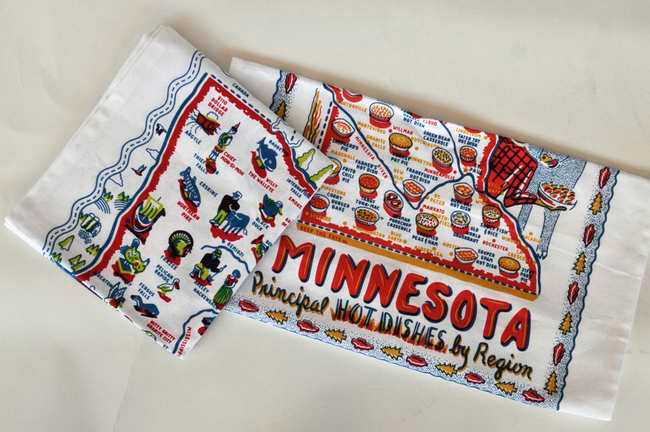. Local lithographer/fine artist Faye Passow highlights Minnesota landmarks in one colorful, fun design. Matching hotpads are also available at some locations. Dish towels ($10) at keepthefaye.com and several Twin Cities stores, including Bibelot and Patina shops. (Pioneer Press: Chris Polydoroff)