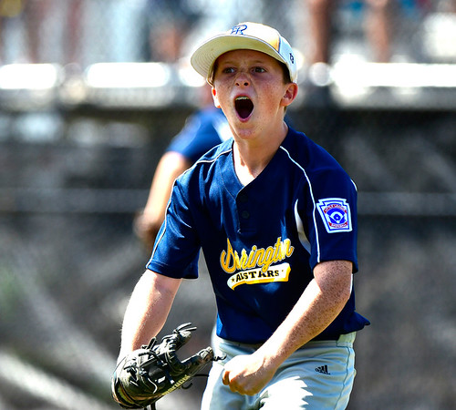 8/10/2019 Mike Orazzi | Staff Rhode Islands Barrington Little League pitcher Owen Pfeffer (13) celebrates during his complete game 80 pitch win on Saturday over New Hampshires Goffstown Junior Baseball Little League at Breen Field in Bristol, Conn., during the New England Regional and advancing to the Little League World Series in Williamsport PA.
