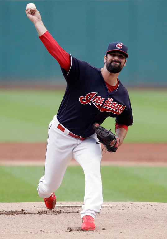 . Cleveland Indians starting pitcher Adam Plutko delivers in the first inning of a baseball game against the Minnesota Twins, Wednesday, Aug. 29, 2018, in Cleveland. (AP Photo/Tony Dejak)