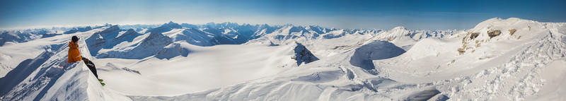Images from the famous Bow-Yoho Wapta Icefield ski traverse, including ascents of Mount Collie and Mount Des Poilus.
