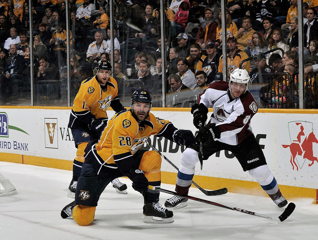 . Jan Hejda #8 of the Colorado Avalanche dumps the puck past Paul Gaustad #28 of the Nashville Predators at the Bridgestone Arena on April 2, 2013 in Nashville, Tennessee.  (Photo by Frederick Breedon/Getty Images)