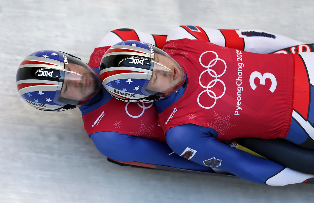 . Toni Eggert and Sascha Benecken of Germany take a practice run during the doubles luge training at the 2018 Winter Olympics in Pyeongchang, South Korea, Monday, Feb. 12, 2018. (AP Photo/Michael Sohn)