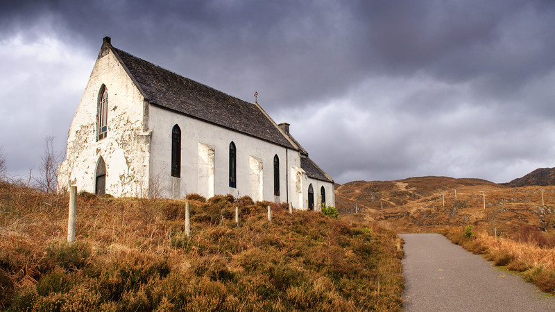 Isolated church at Lochailort in Scotland