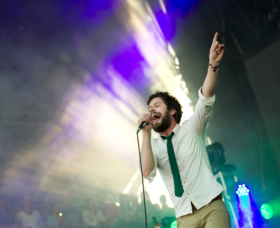 . Michael Angelakos of Passion Pit performs at the Austin City Limits Music Festival, Saturday, Oct. 5, 2013 at Zilker Park in Austin, Texas. (AP Photo/Austin American-Statesman, Jay Janner)