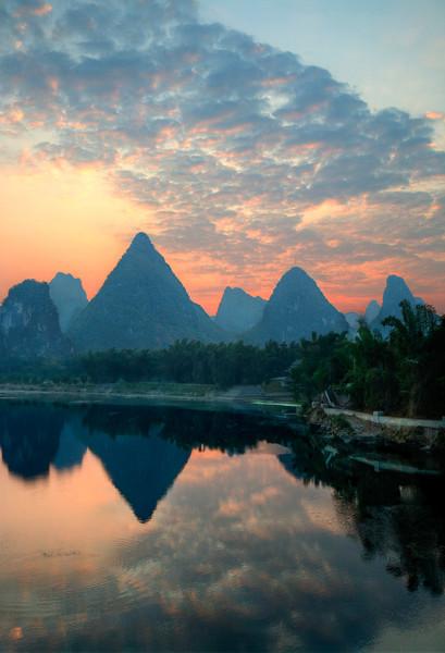 "Yangshuo. Before Sunrise. 16"" x 22""."