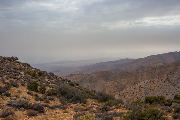 The view from Keys View during a dust storm event. Joshua Tree National Park