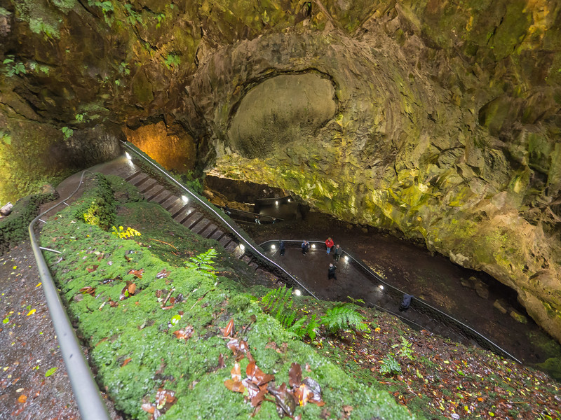 Inside the Algar do Carvão volcano