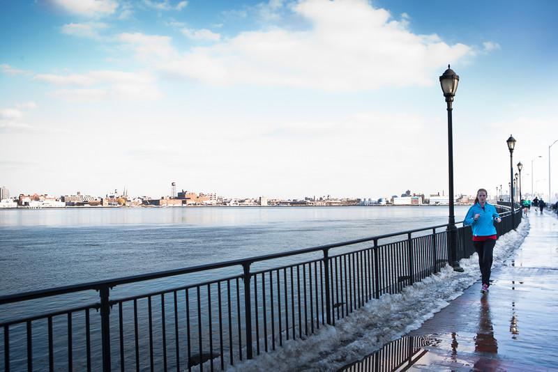 Jogging along the East River @ East River Park. ...a southward view.