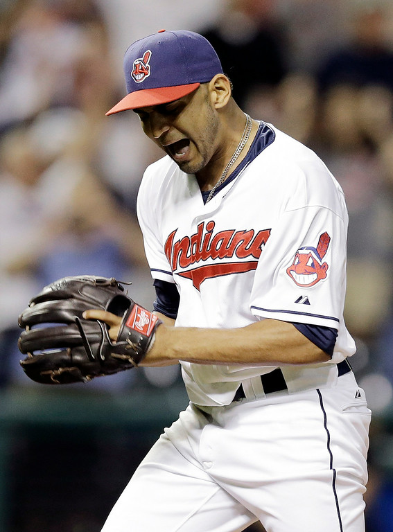. Cleveland Indians starting pitcher Danny Salazar reacts after his team defeated the Detroit Tigers 7-0 in a baseball game, Wednesday, Sept. 3, 2014, in Cleveland. Salazar pitched his first career shutout and gave up eight hits. (AP Photo/Tony Dejak)