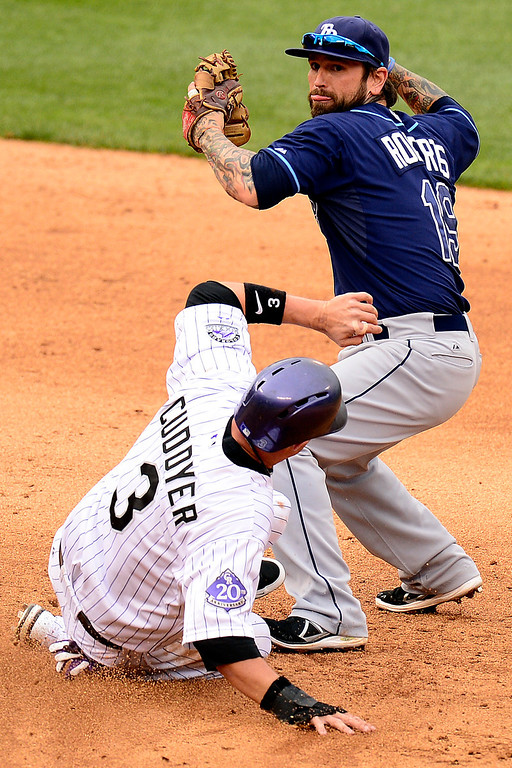 . DENVER, CO - MAY 5: Ryan Roberts (19) of the Tampa Bay Rays turns a double play as Michael Cuddyer (3) of the Colorado Rockies slides into second during the Rockies\' 8-3 loss.   (Photo by AAron Ontiveroz/The Denver Post)