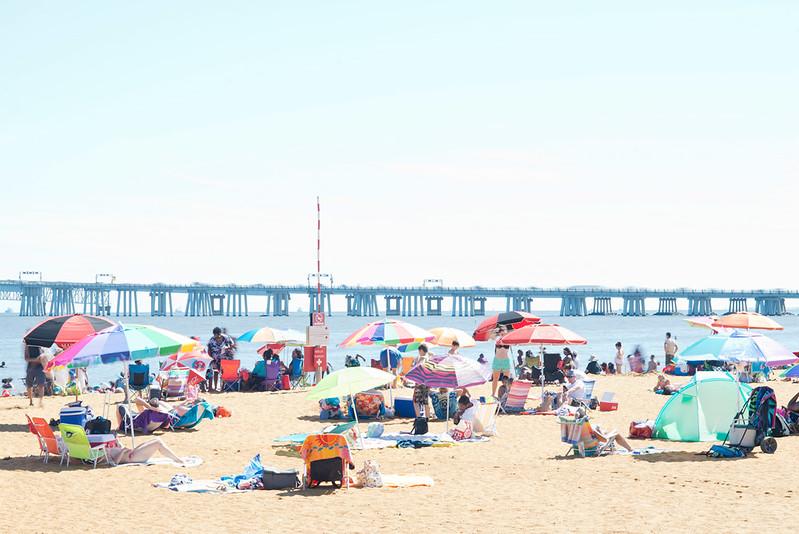 Sandy Point Beach Scene and Bay Bridge