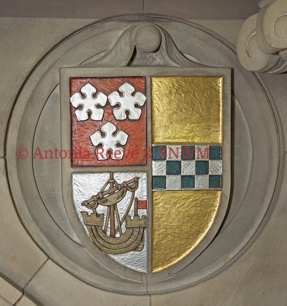 Stone Carved Shield, Painted - With Ship and Chequer