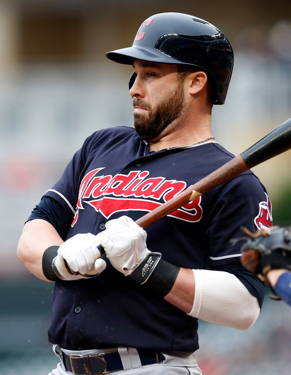 . Cleveland Indians\' Jason Kipnis rears back on a close pitch by Minnesota Twins pitcher Kyle Gibson in the first inning of the first game of a baseball doubleheader Thursday, Aug. 17, 2017, in Minneapolis. (AP Photo/Jim Mone)