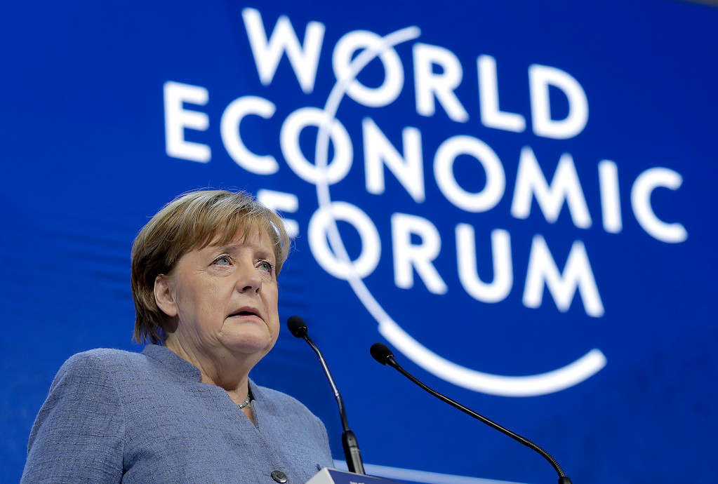 . German Chancellor Angela Merkel looks to the audience during her special address as part of the annual meeting of the World Economic Forum in Davos, Switzerland, Wednesday, Jan. 24, 2018. (AP Photo/Markus Schreiber)