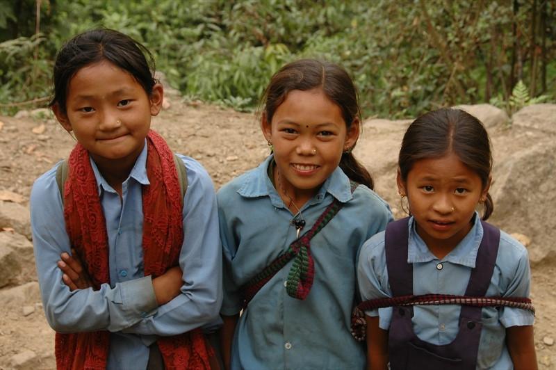 Nepali Schoolgirls - Annapurna Circuit, Nepal
