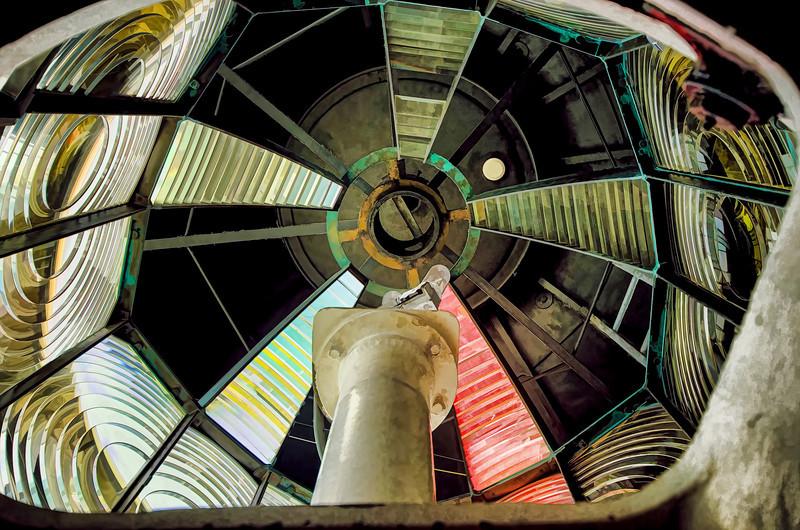 Inside the lens of a lighthouse