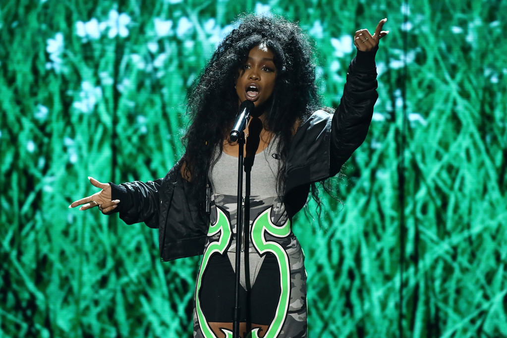 ". SZA performs ""Love Galore\"" at the BET Awards at the Microsoft Theater on Sunday, June 25, 2017, in Los Angeles. (Photo by Matt Sayles/Invision/AP)"