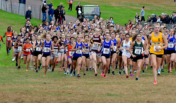 10/16/2019 Mike Orazzi | Staff The start of the girls CCC XC Championship held at Wickham Park in Manchester on Wednesday.