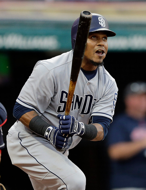 . San Diego Padres\' Erick Aybar watches his RBI ground-rule double off Cleveland Indians starting pitcher Josh Tomlin in the fifth inning of a baseball game, Thursday, July 6, 2017, in Cleveland. (AP Photo/Tony Dejak)