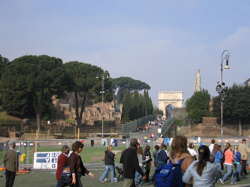 Looking from the Coliseum to the Roman Forum area.