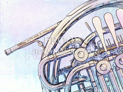 Watercolor Drawings of French Horn 2059
