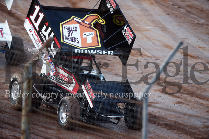 Harold Aughton/Butler Eagle: Carl Bowser of Butler competed in the Don Martin Memorial Sprint car race at Lenerville Speedway, Tuesday, July 23, 2019.