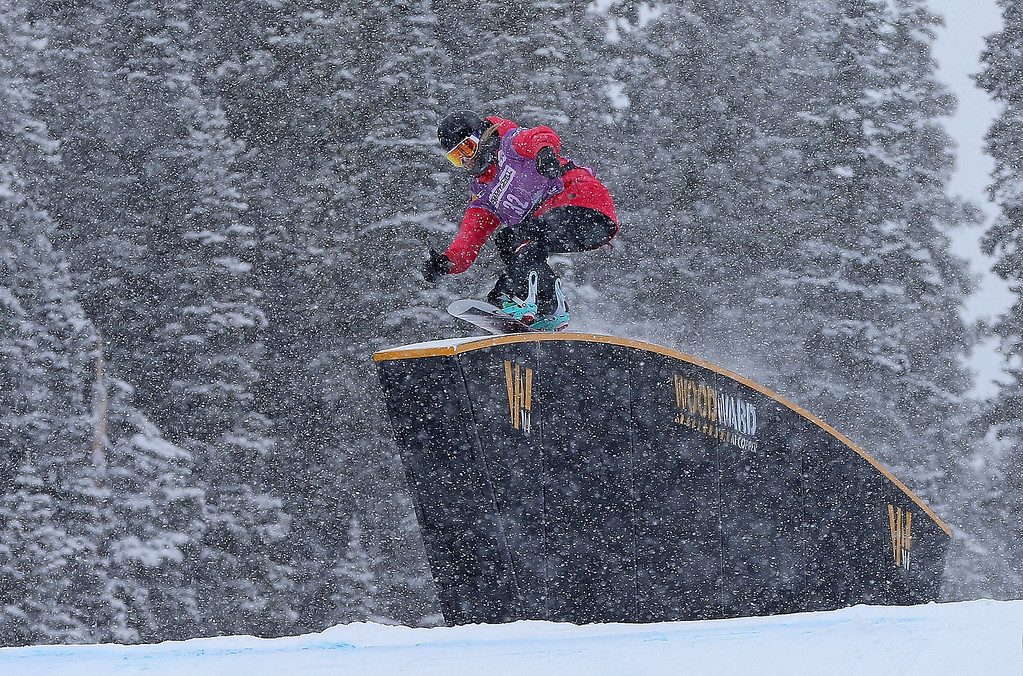 . Anna Gasser of Austria competes during qualifying for the women\'s FIS Snowboard Slopestyle World Cup at U.S. Snowboarding and Freeskiing Grand Prix on December 20, 2013 in Copper Mountain, Colorado.  (Photo by Mike Ehrmann/Getty Images)