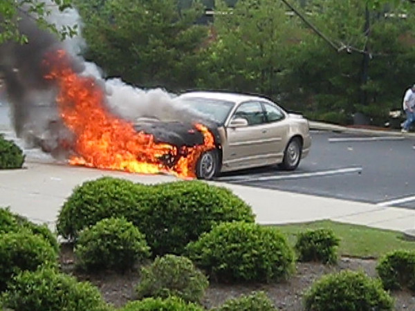 Car Fire in Parking Lot at Bright House
