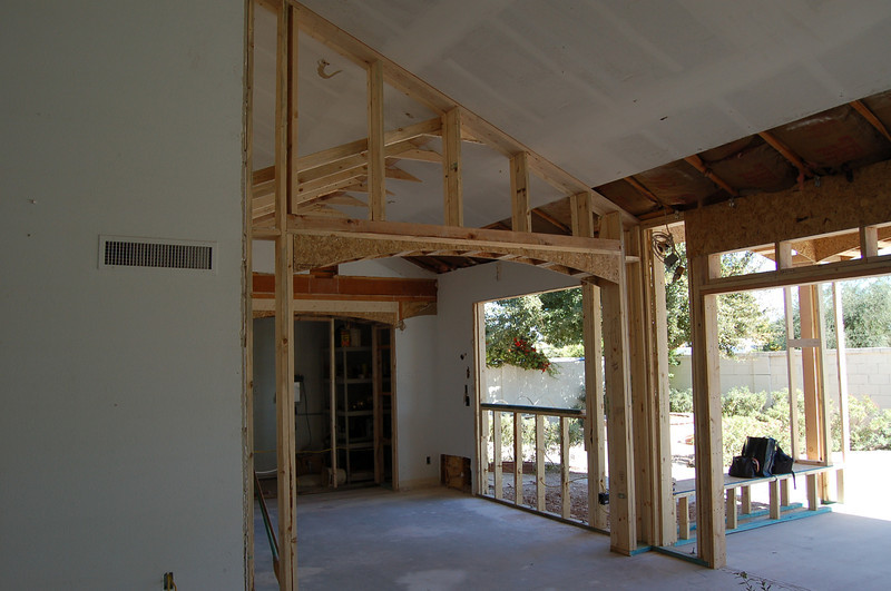 View from the living room into the dining room and back yard.